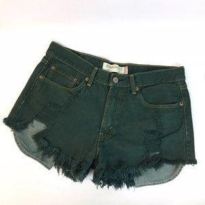 LEVIS Destroyed Cut Off Jean Shorts Sz 30